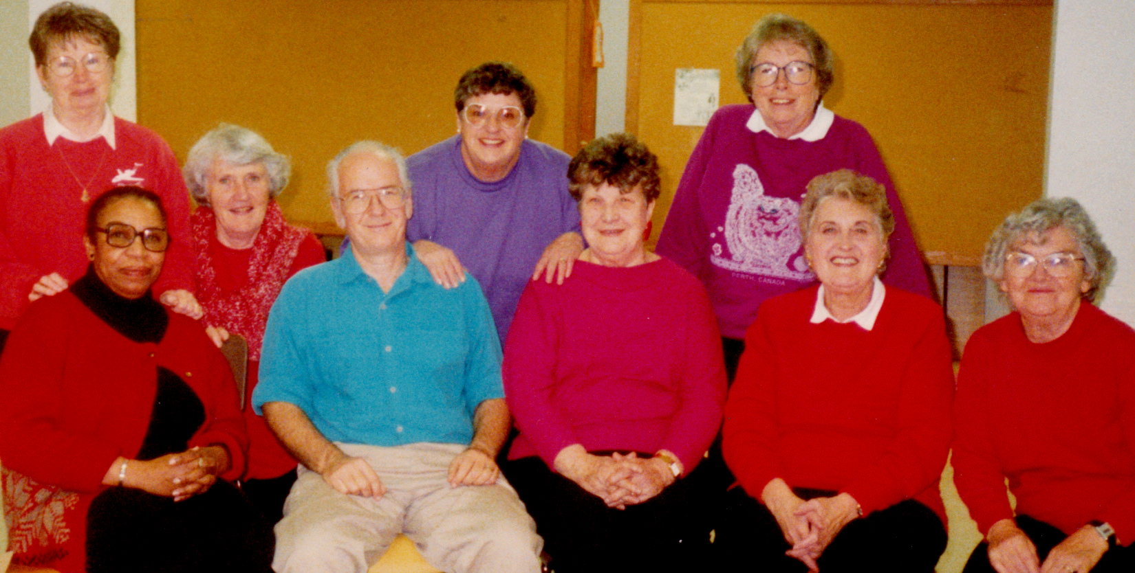 The Sage Age Theatre Troupe October 1992: L to R front row Nancy Coleman, Gord Gilhuly, Kaye Devlin, Barbara Hulme, Isabel Roy; back row: Jean Hopkins, Pat Matheson, Sheila Maltby, Mary Brown
